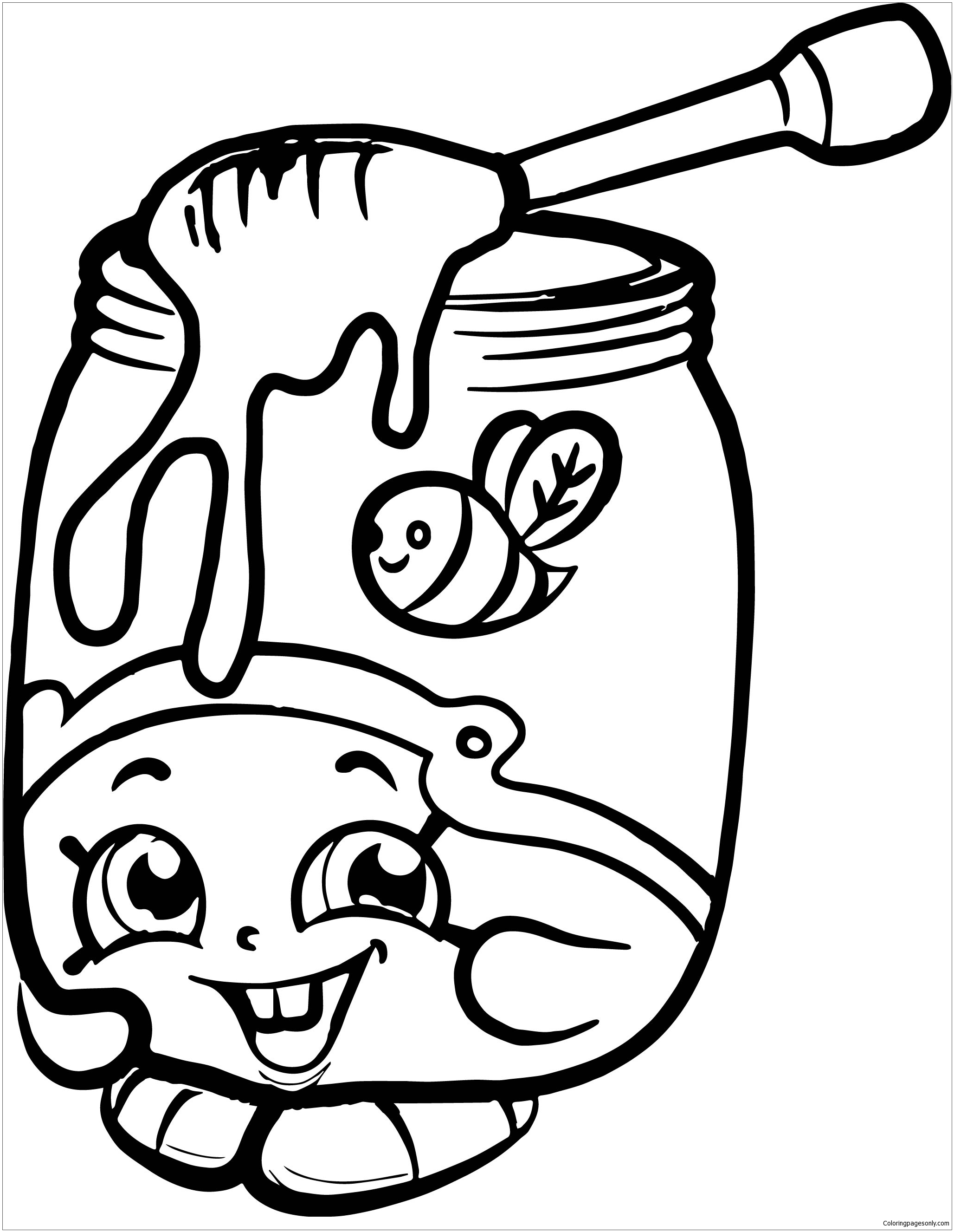 Shopkins Giant Coloring Book Page With A Honey Jar
