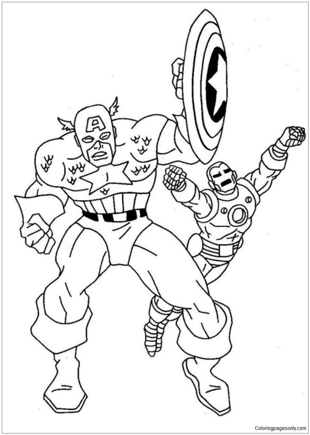 Ironman Vs Captain America Coloring Pages - Avengers Coloring