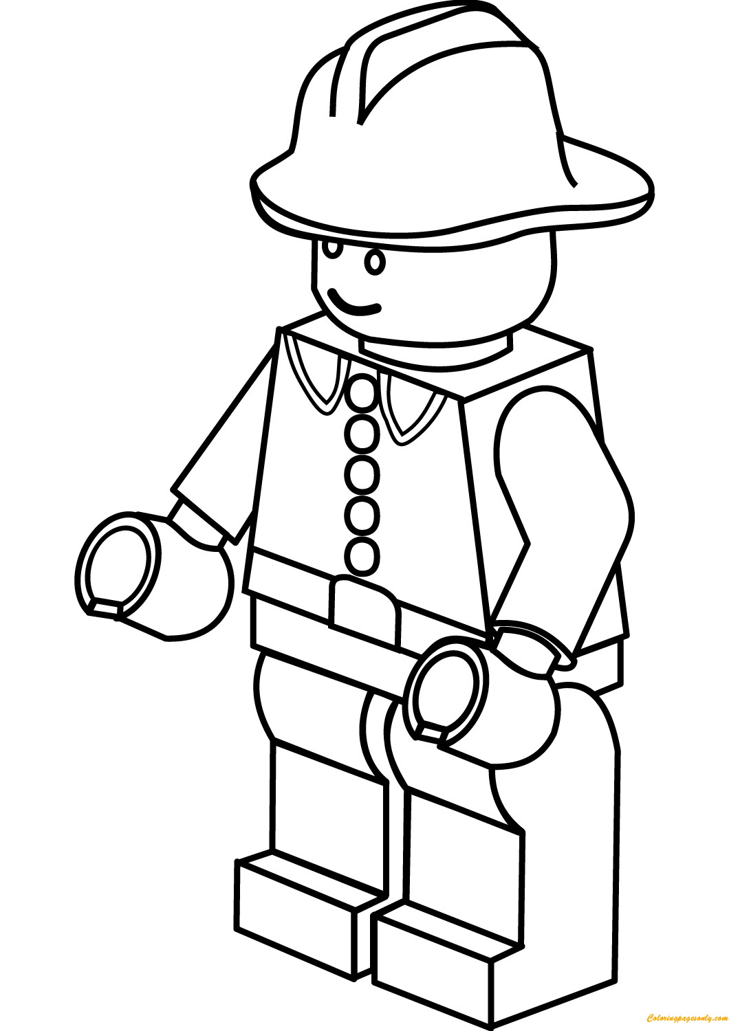 Lego City Firefighter Coloring Page