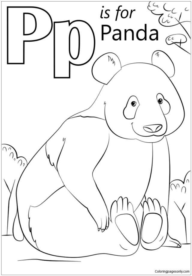 Letter P is for Panda Coloring Pages - Alphabet Coloring Pages