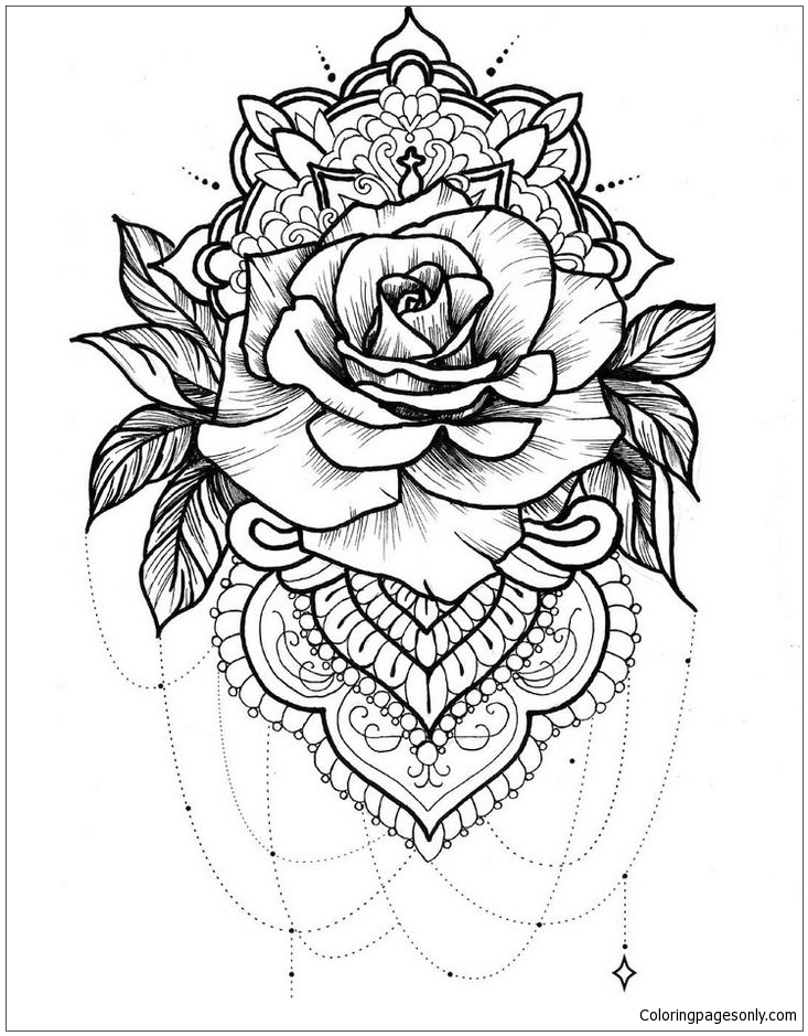 Mandala Rose Coloring Page Free Coloring Pages Online