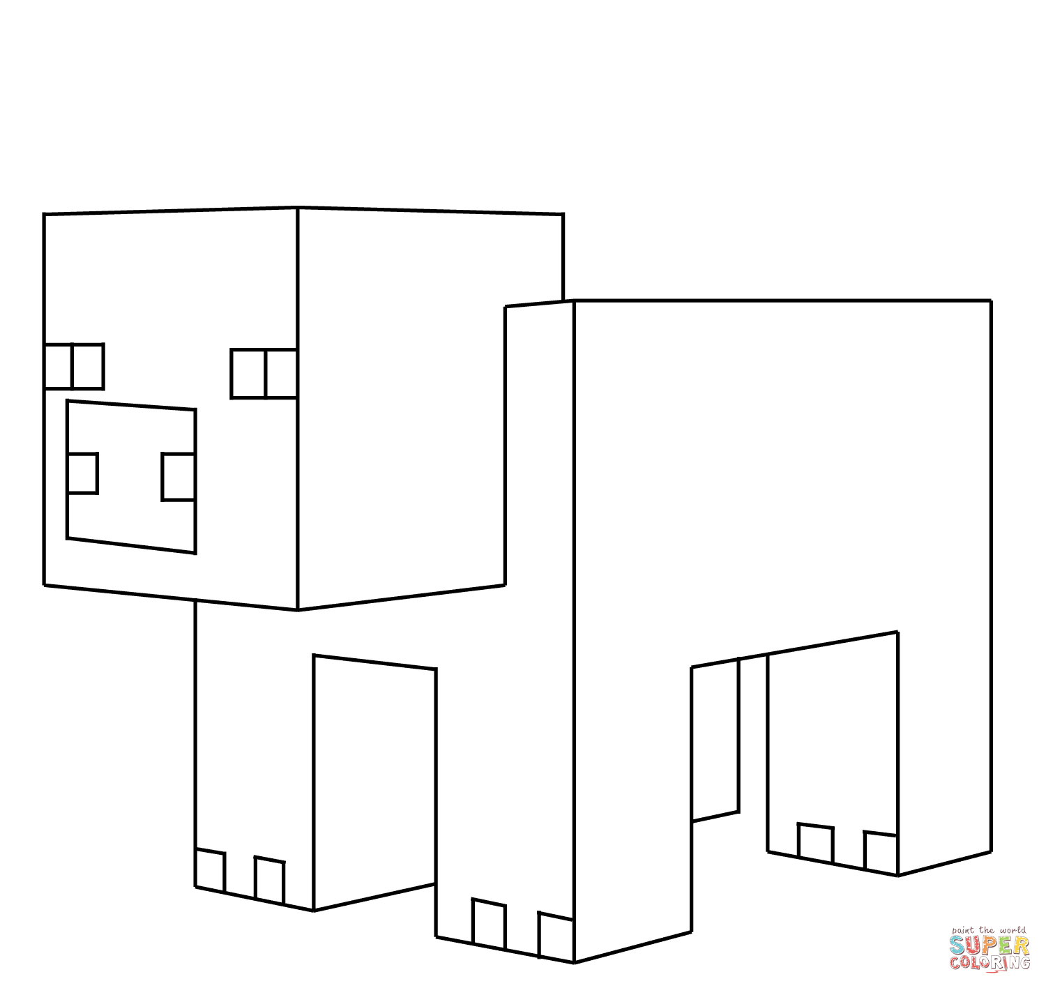 Minecraft Pig From Minecraft Coloring Page