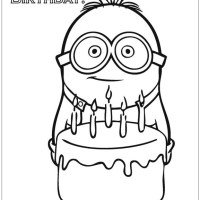 Happy Birthday Minion Coloring Pages   Cartoons Coloring ...