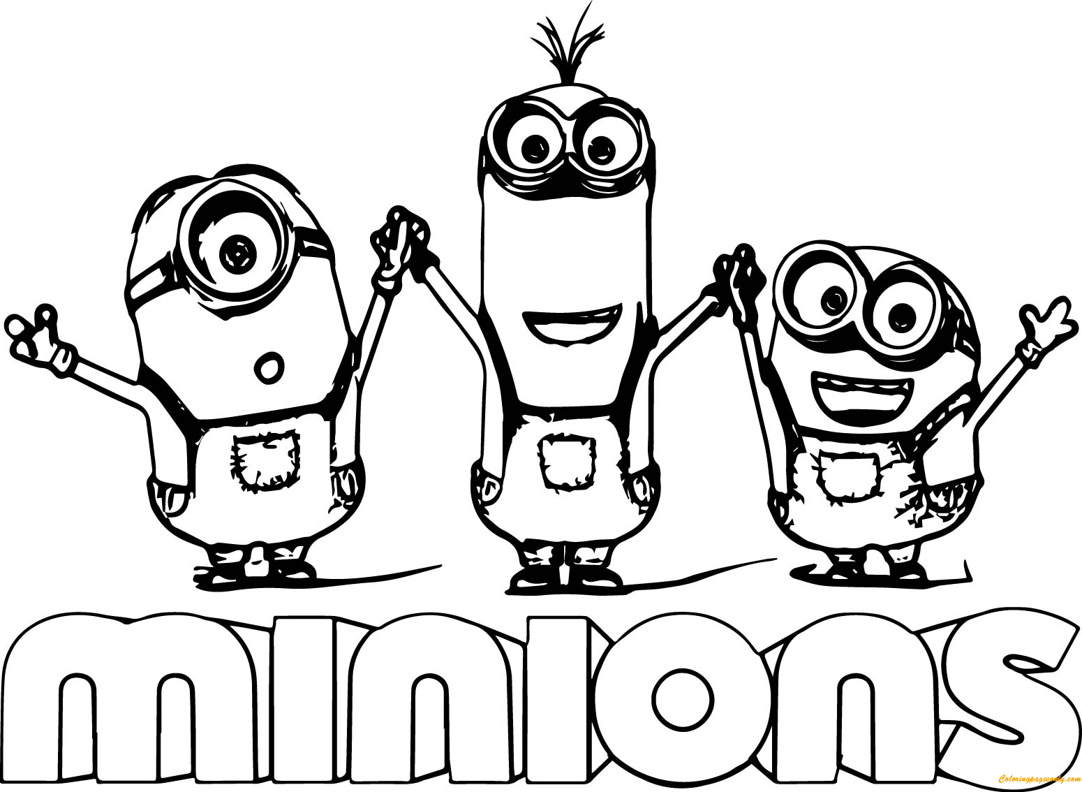 Minion Kevin With Two Minions Coloring Page Free Coloring Pages