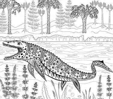 Dinosaur Sea Monster Jurassic Coloring Page Free