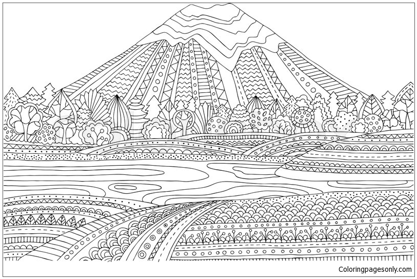 Mountain Landscape Coloring Page Free Coloring Pages Online