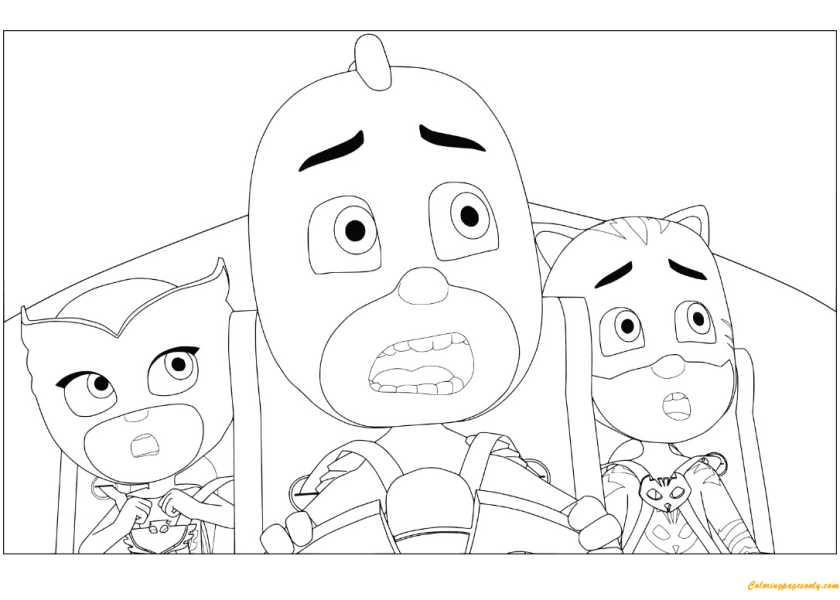 owlette gekko and catboy from pj masks coloring page