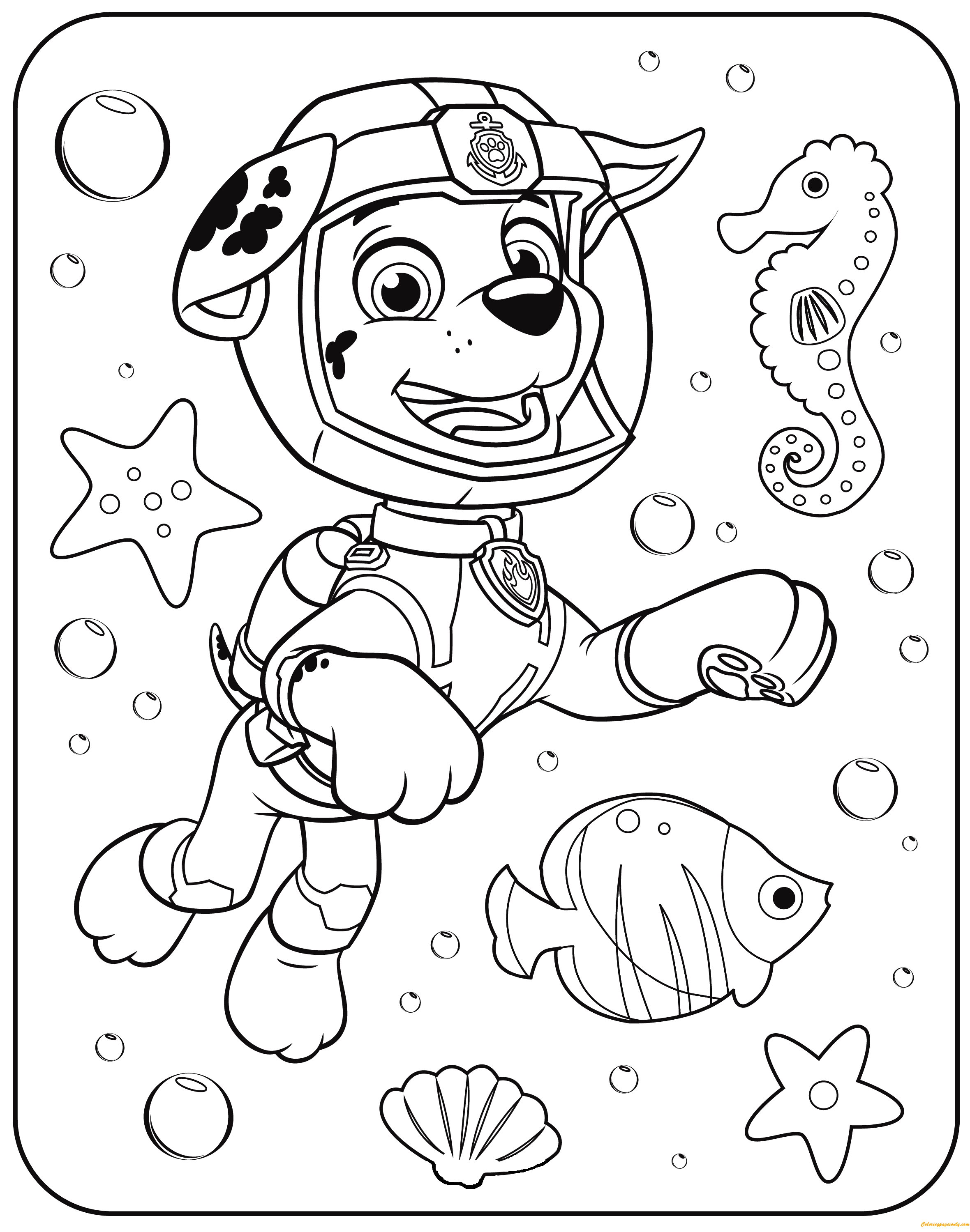 Paw Patrol Marshall Underwater Coloring Page Free Coloring Pages