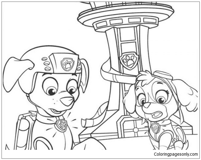Paw Patrol Zuma And Sky Coloring Page Free Coloring