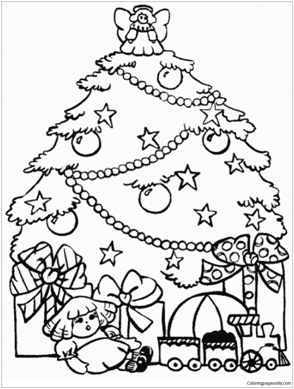 Presents And Christmas Tree Coloring Page Free Coloring Pages Online