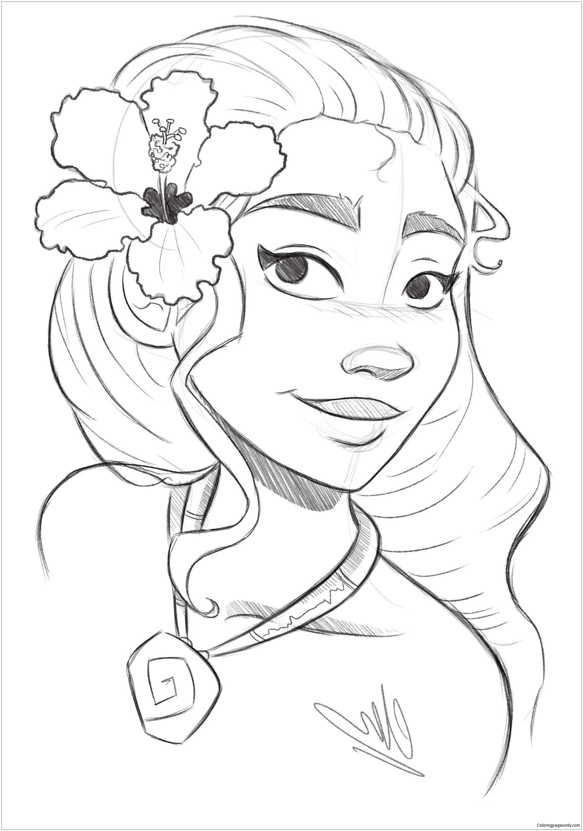 Princess Moana 2 Coloring Page