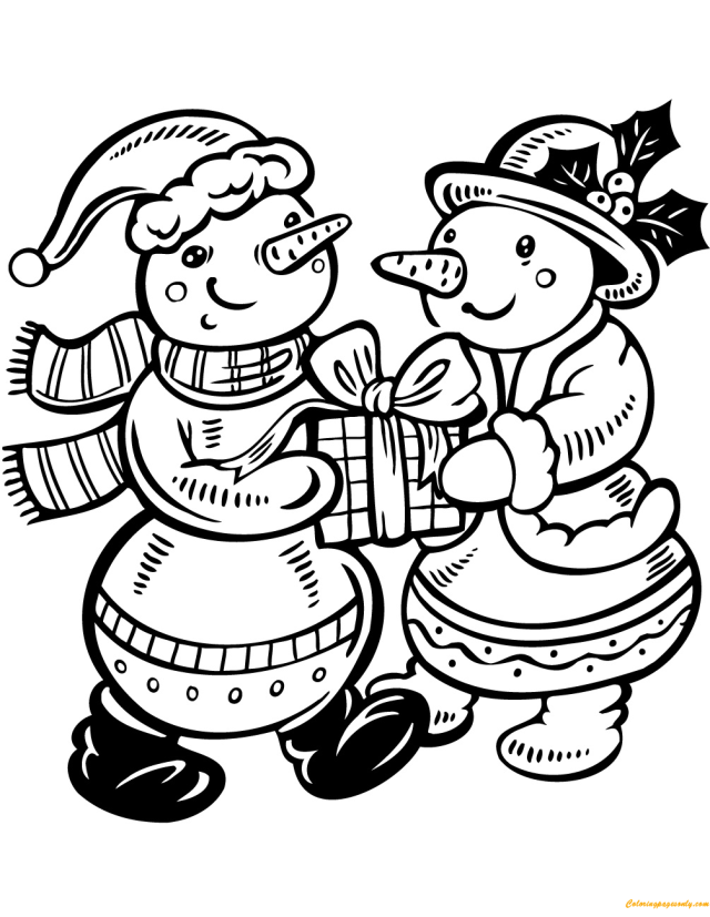 Snowwoman and Snowman in Love Coloring Pages - Christmas Coloring
