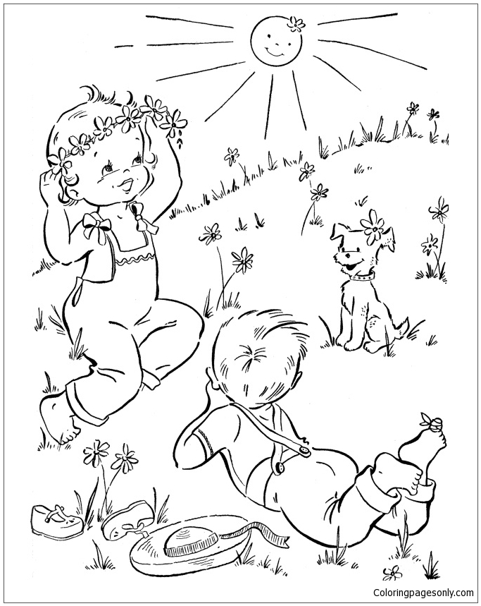 Spring Outdoor For Kids Coloring Page Free Coloring