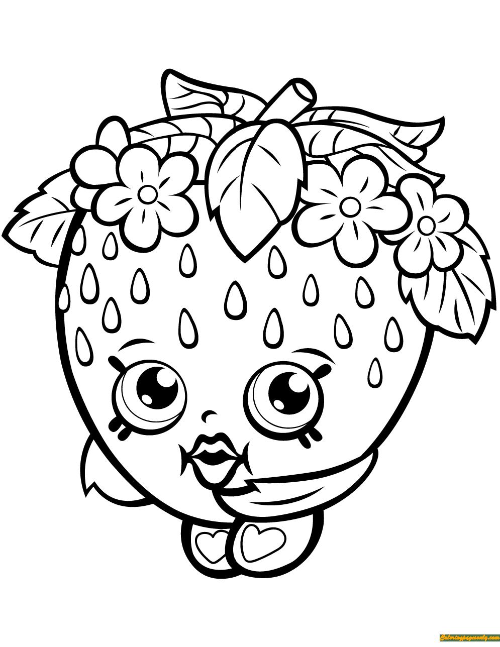 Strawberry Kiss Shopkin Season 1 Coloring Page Free Coloring