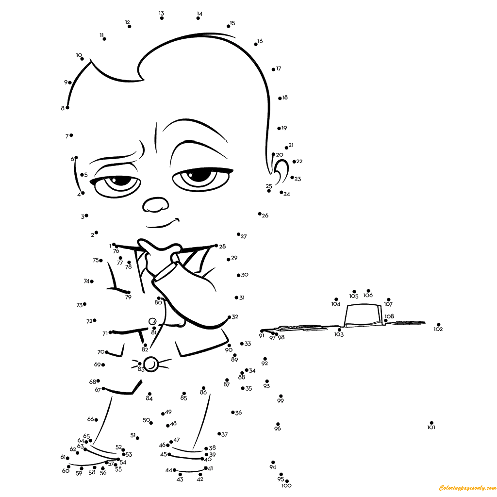The Boss Baby Connect The Dots Coloring Page