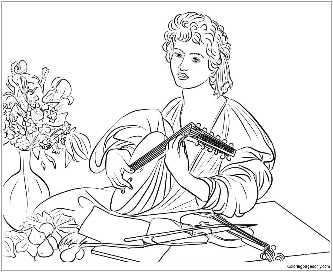 The Lute Player By Caravaggio Coloring Page