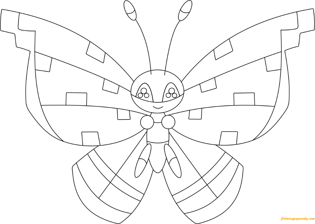 Vivillon With The Tundra Pattern Coloring Page Free Coloring