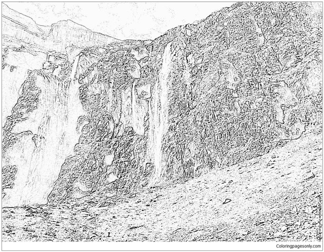 Waterfalls Montagne Coloring Pages - Nature & Seasons Coloring