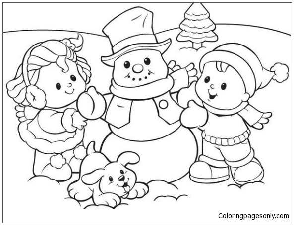 Winter Fun With Kids Snowman And Cute Puppy Coloring Page