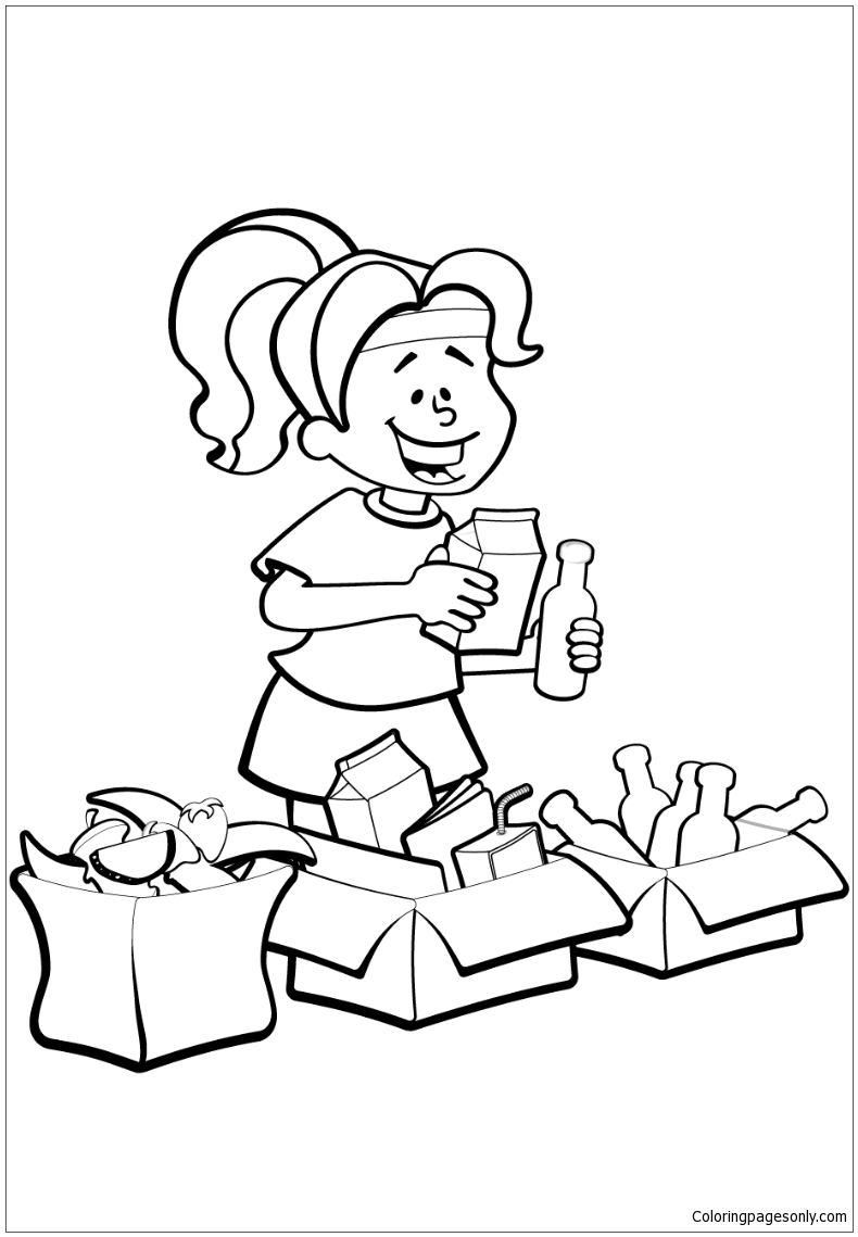 Woman is Sorting Garbage for Recycling Coloring Page