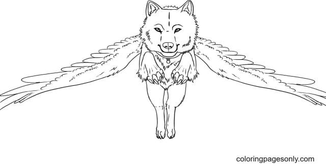 Flying Wolf Coloring Pages - Wolf With Wings Coloring Pages