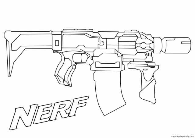 Nerf Blaster 23 Coloring Pages - Gun Coloring Pages - Coloring