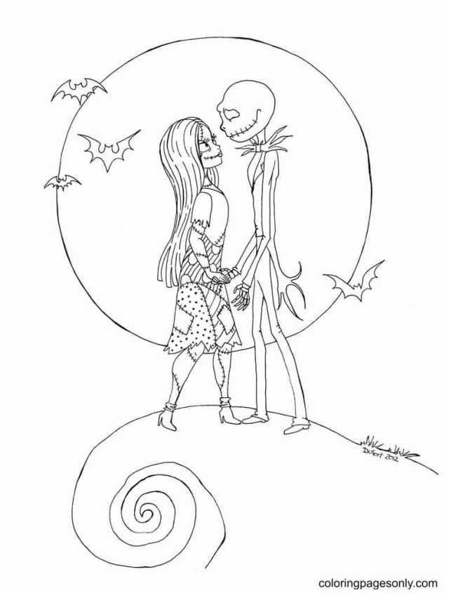 Jack Skellington And Sally Coloring Pages - Nightmare Before