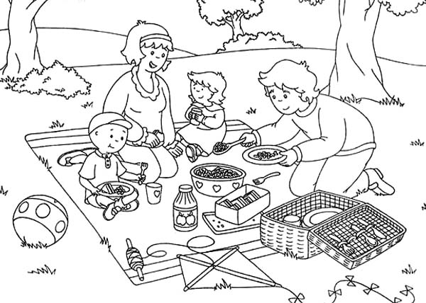 family in picnic Colouring Pages
