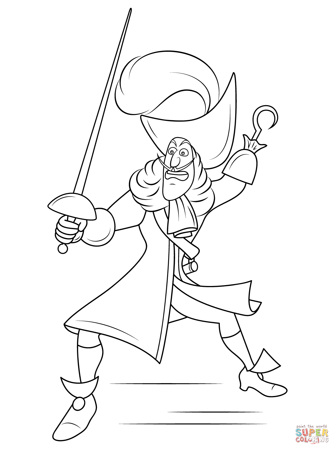 Captain hook coloring pages to download and print for free