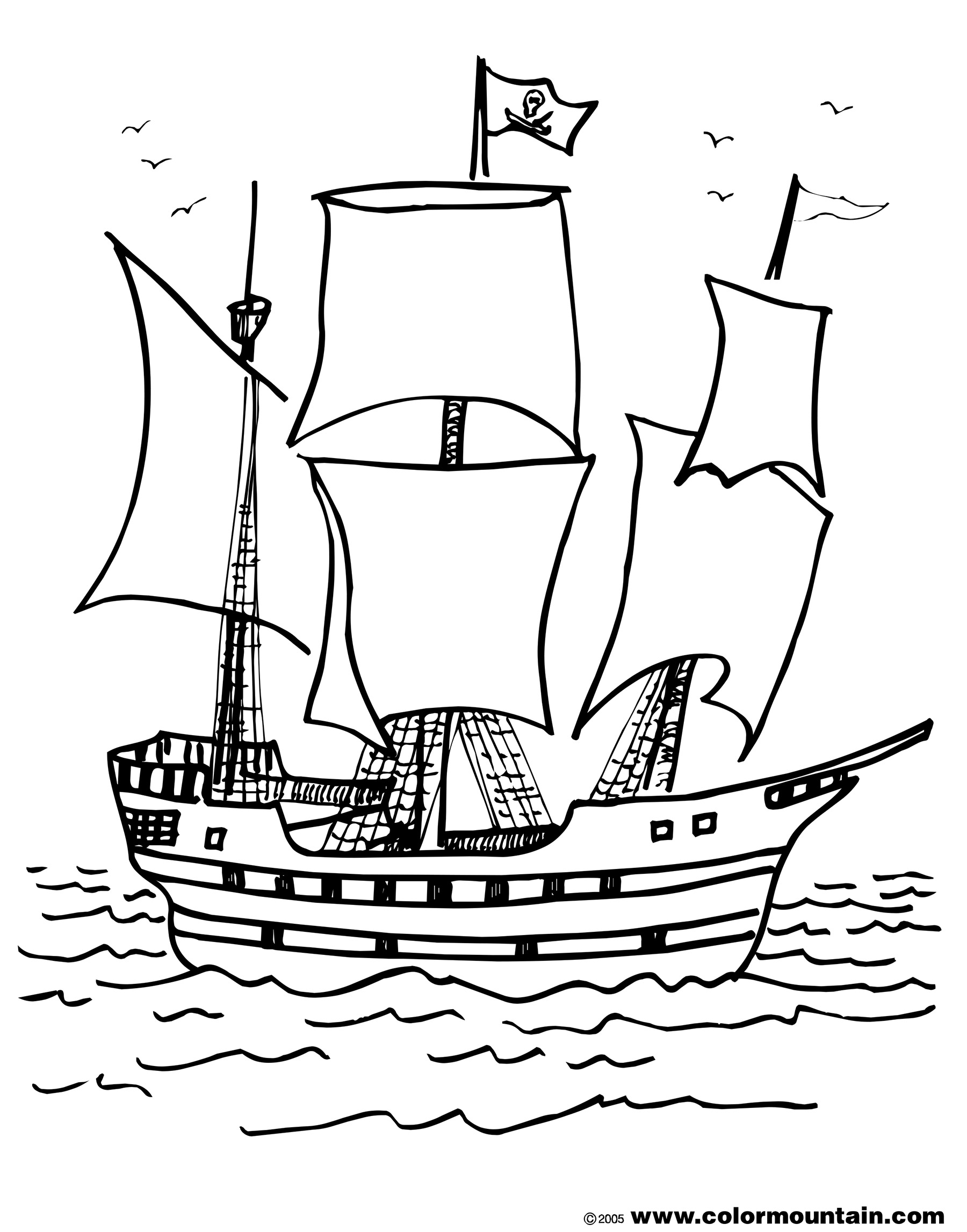 Pirate ship coloring pages to download and print for free