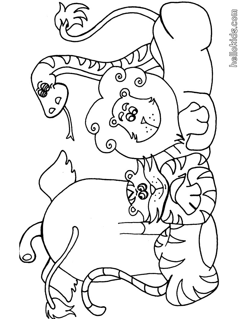 Safari coloring pages to download and print for free | jungle animals coloring pages for kindergarten