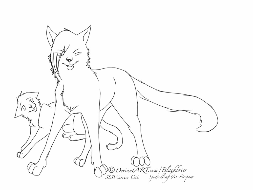 Cute Warrior Cat Coloring Page