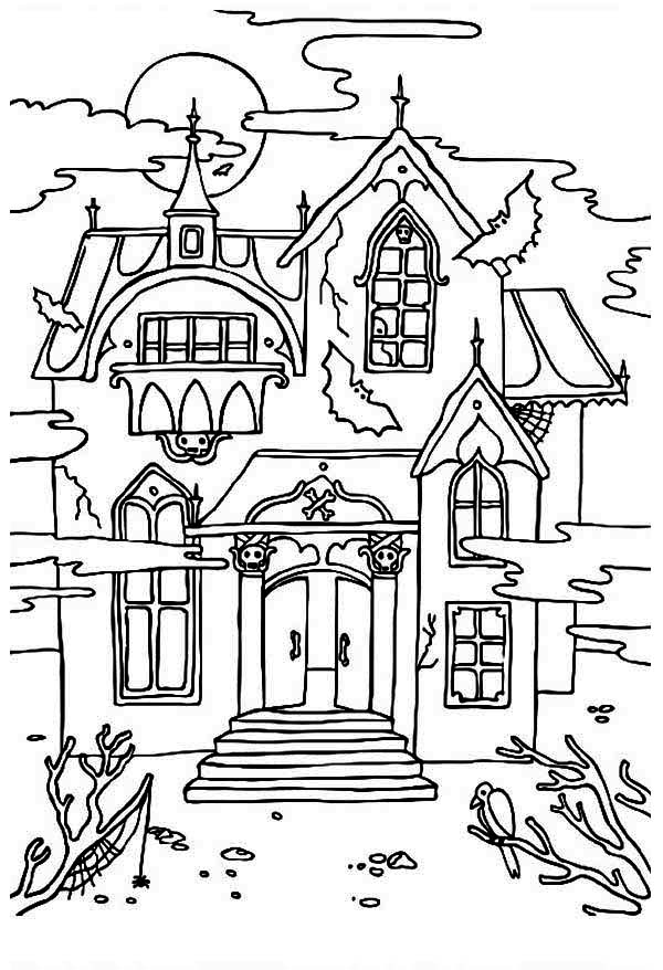 Scary haunted house coloring pages download and print for free
