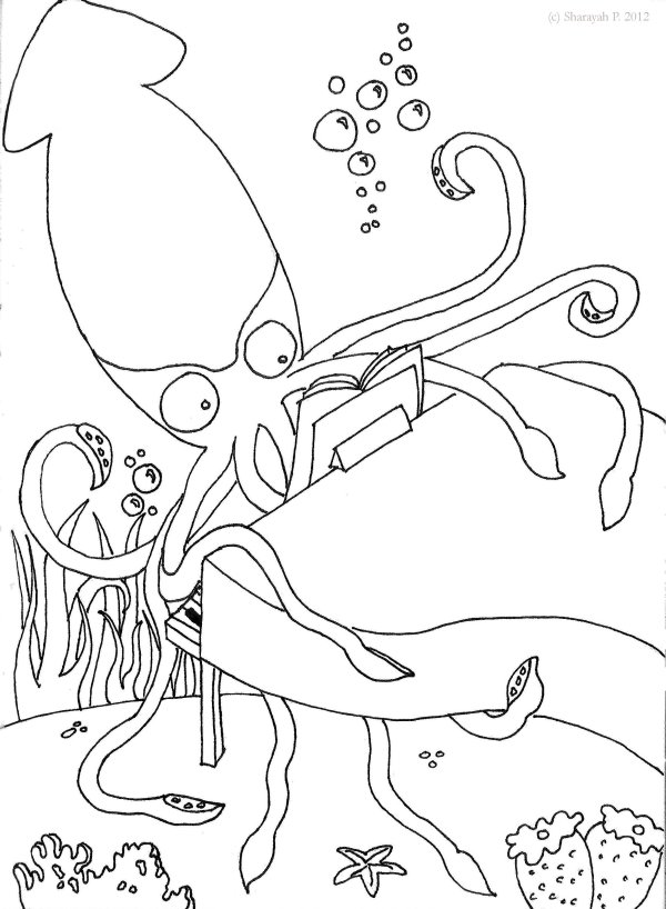squid coloring sheets # 20