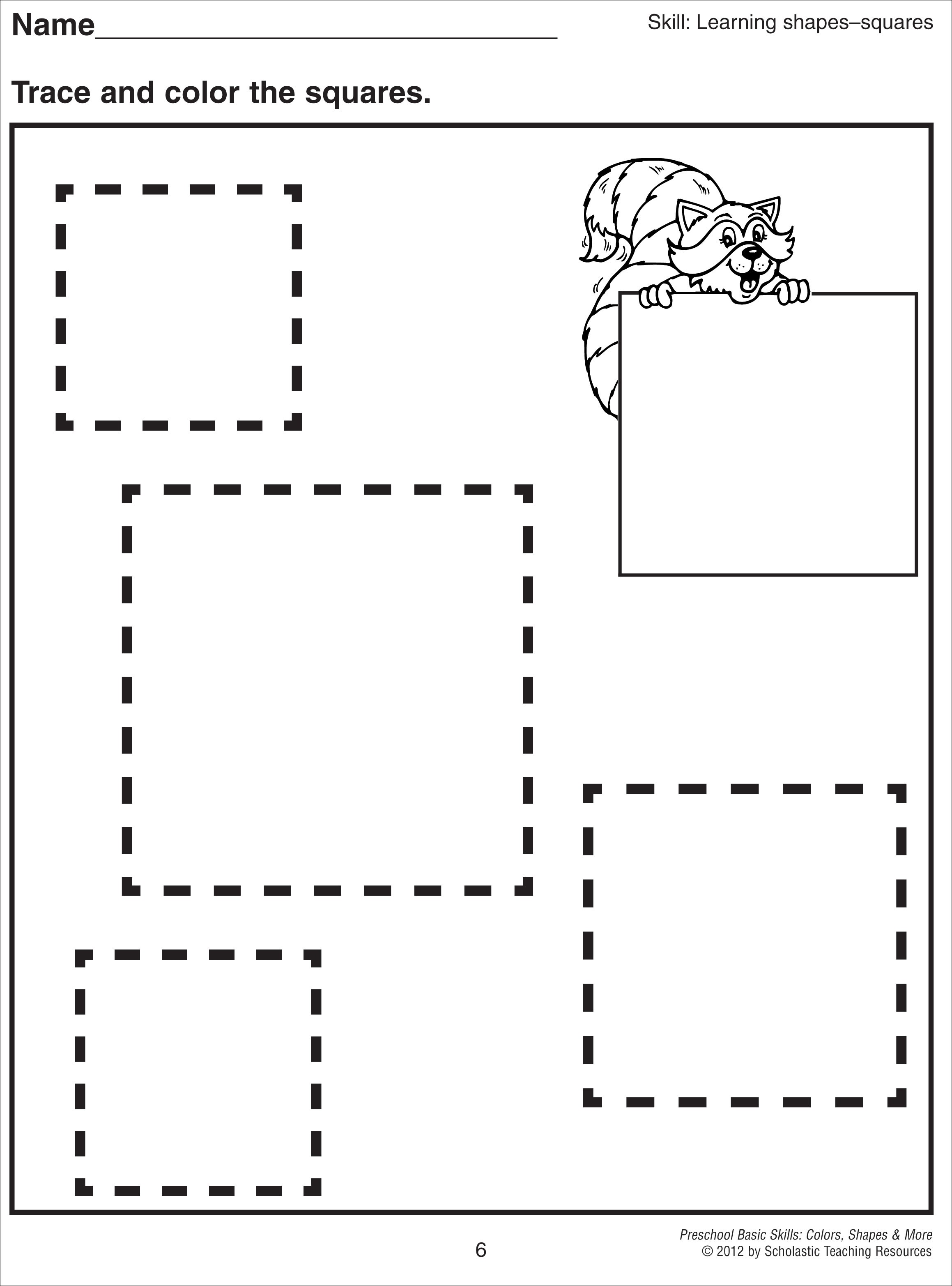Printable Square Shapes Worksheets