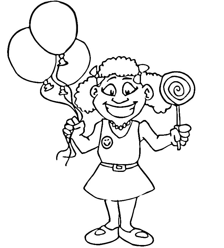 Happy girl coloring pages download and print for free