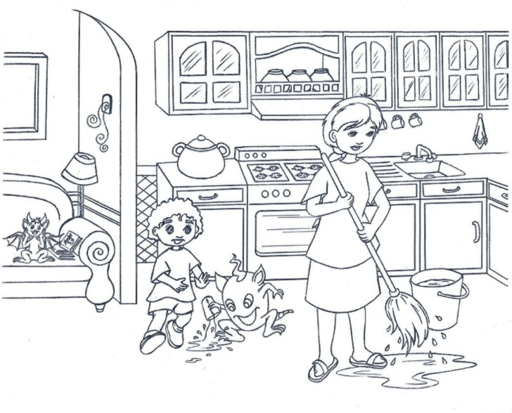 Kitchen Coloring Pages Print