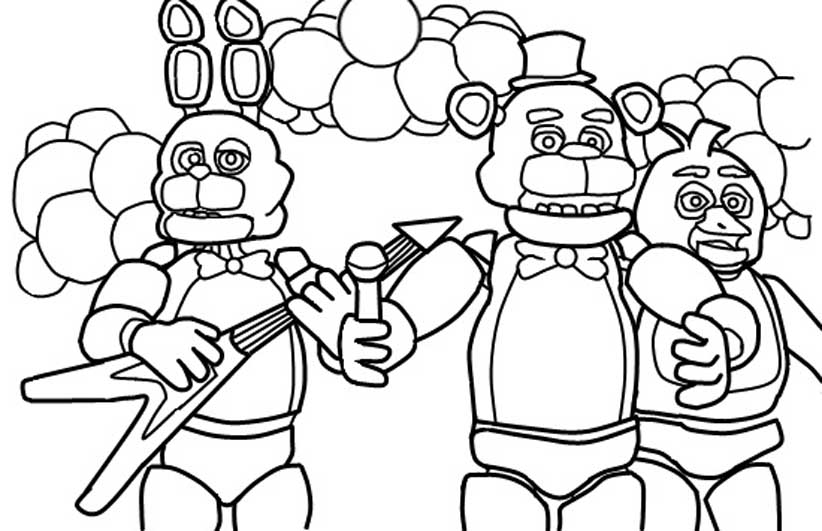 Five Nights at Freddy's coloring pages to download and