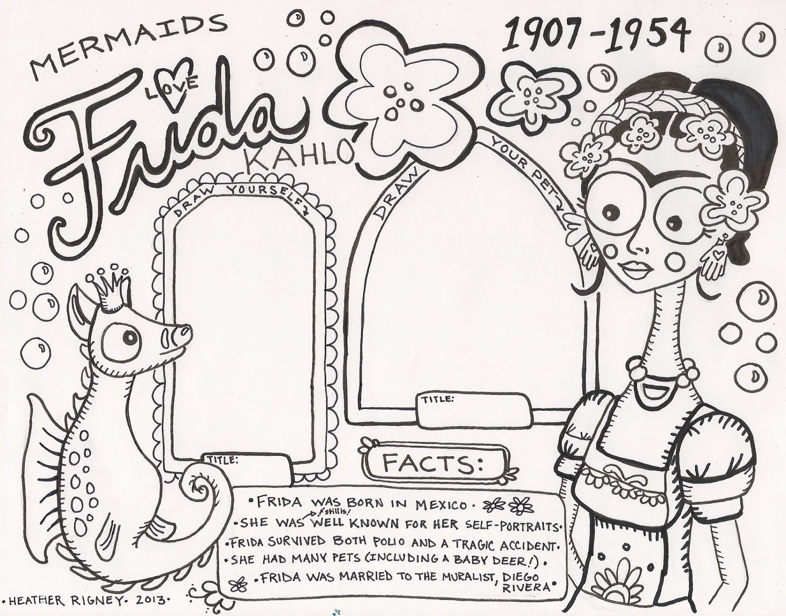 Frida Kahlo Coloring Pages Download And Print For Free