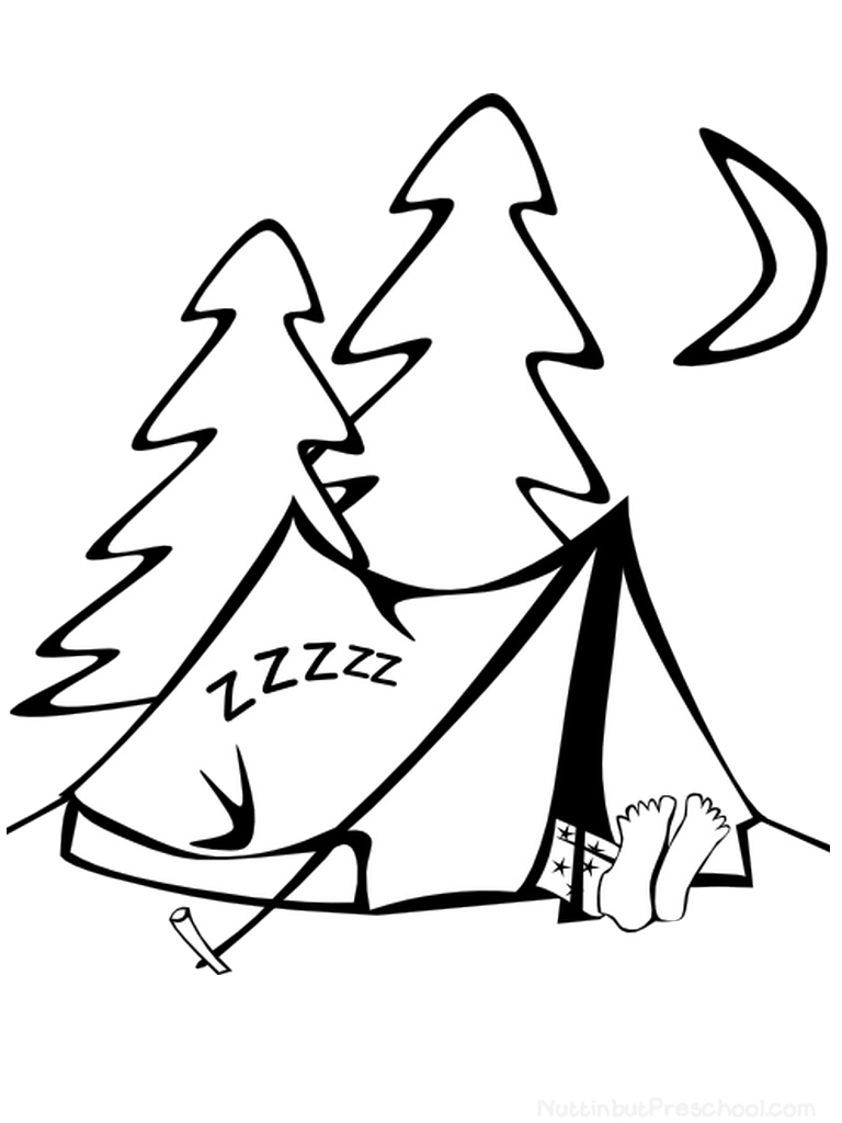 Camping gear coloring pages download and print for free