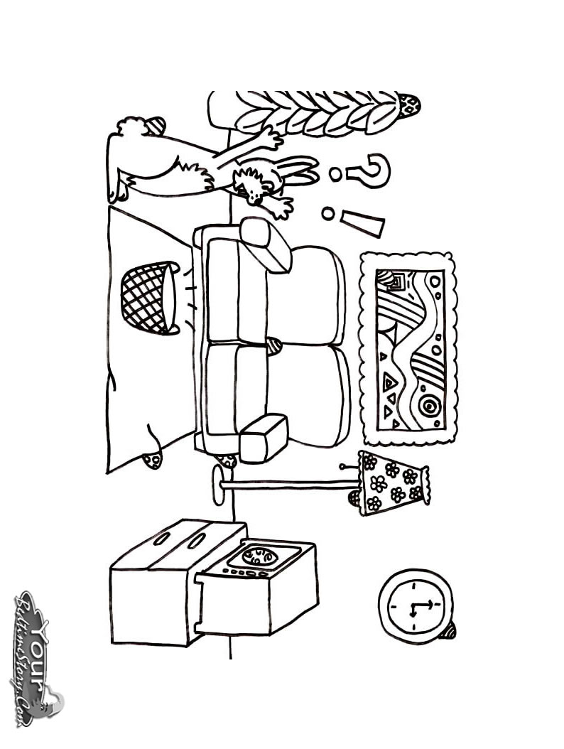 Living room coloring pages download and print for free