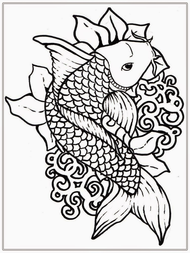 Japanese koi coloring pages download and print for free