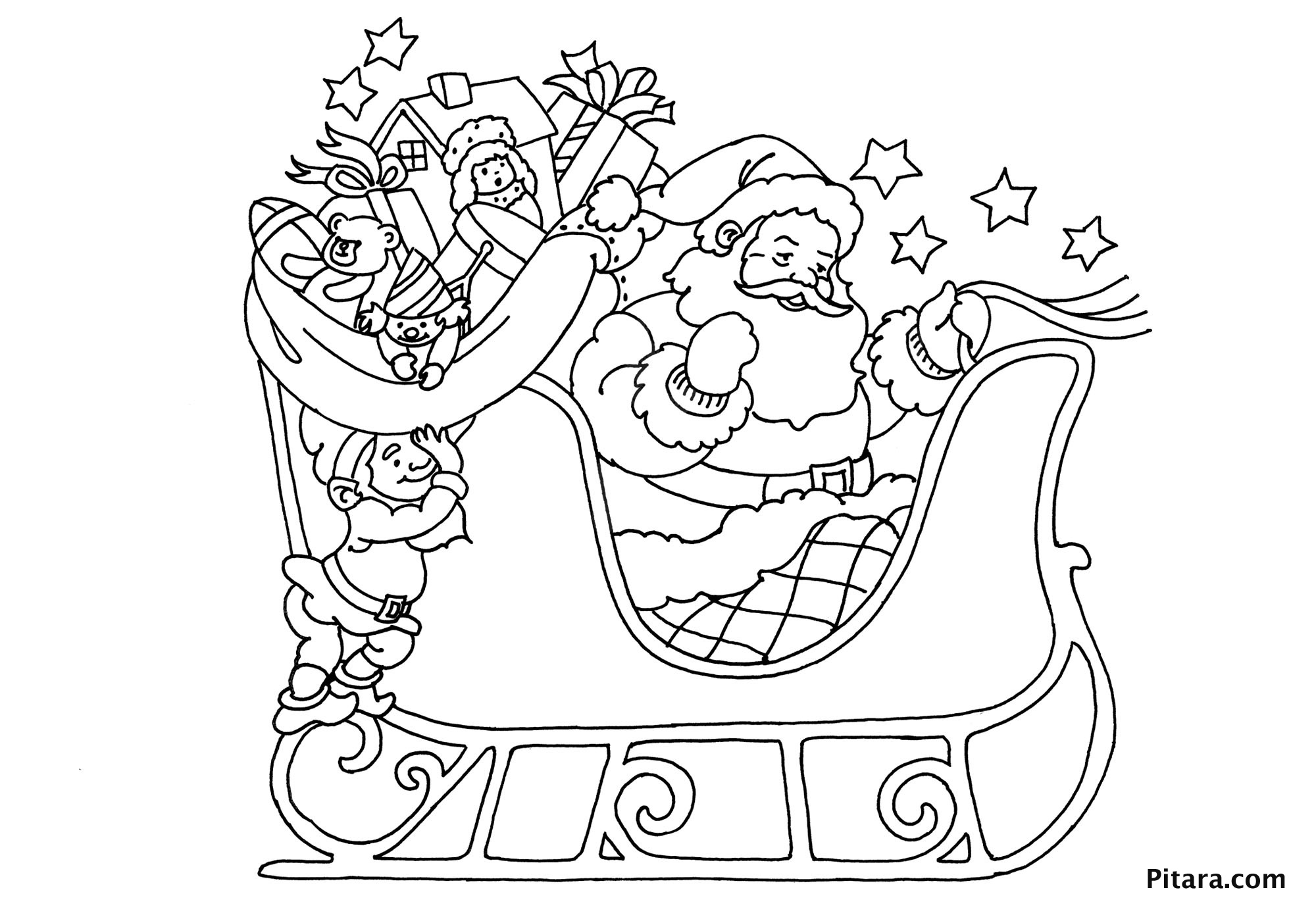 Santa Sleigh Coloring Pages Free Coloring Pages Download | Xsibe ...