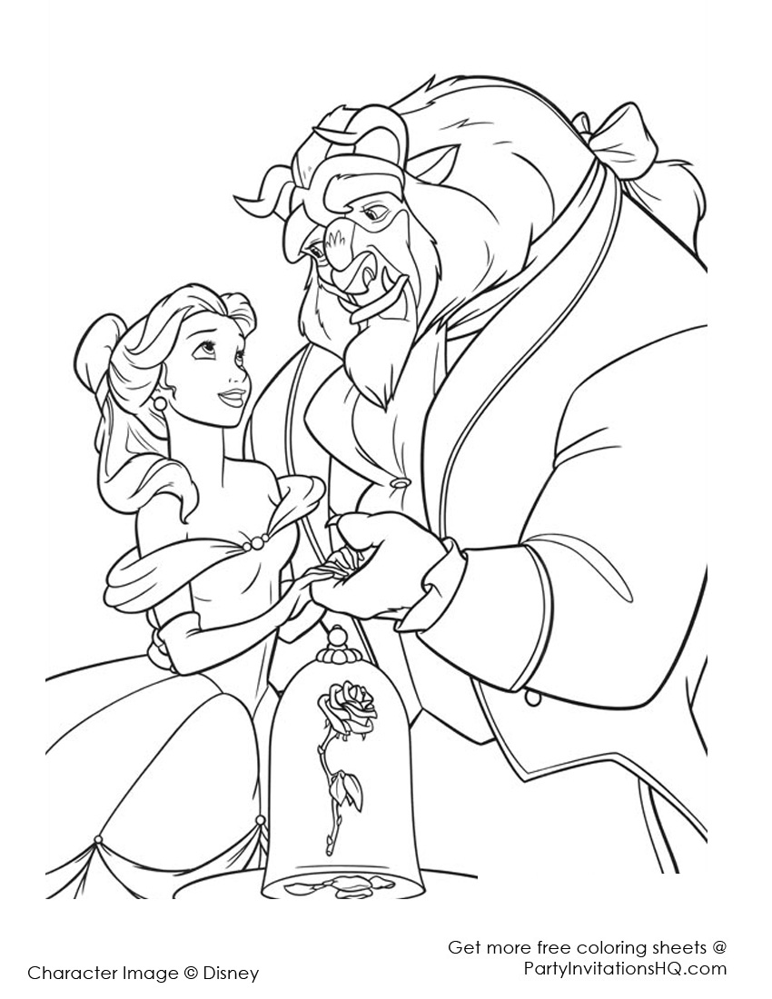 Beauty and the beast coloring pages to download and print
