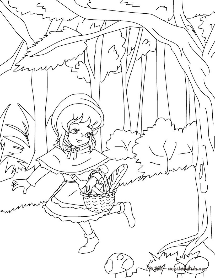 Little red riding hood coloring pages to download and