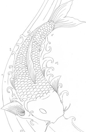 fish pages koi coloring drawings drawing dragon japanese coy adults tattoo printable adult easy colouring outline carp tattoos books element