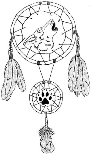 coloring pages dreamcatcher catcher dream printable catchers wolf tattoo designs animal tattoos