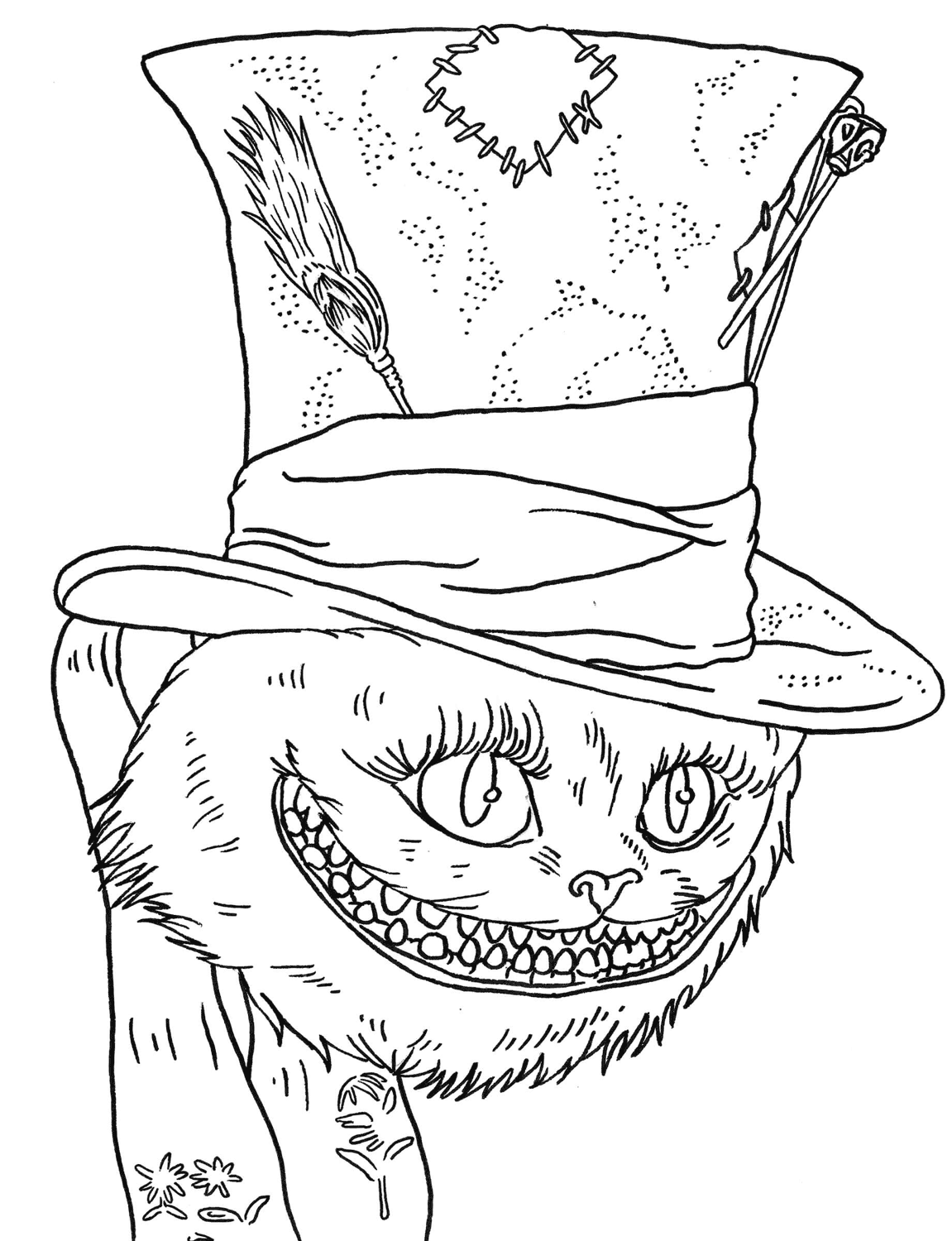 Cat From Alice In Wonderland Smile Coloring Page ...