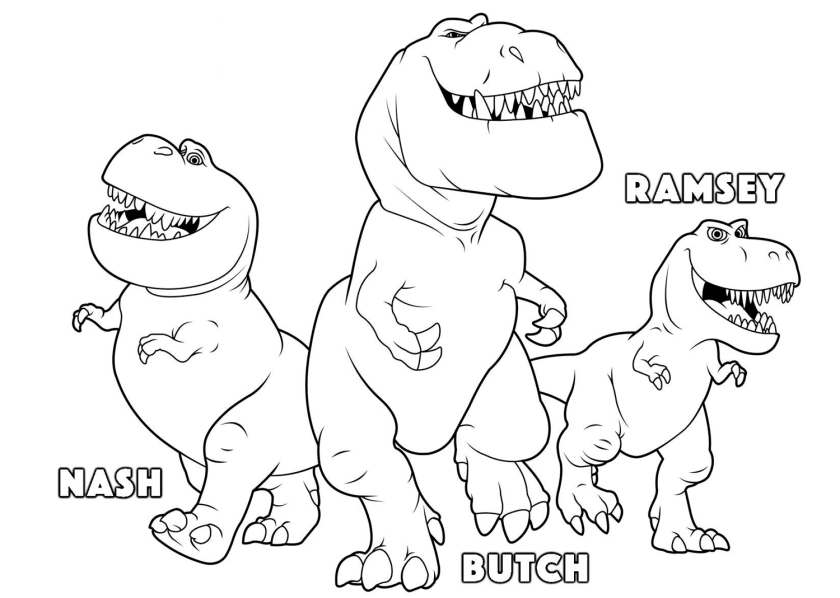 the good dinosaur coloring pages to download and print for