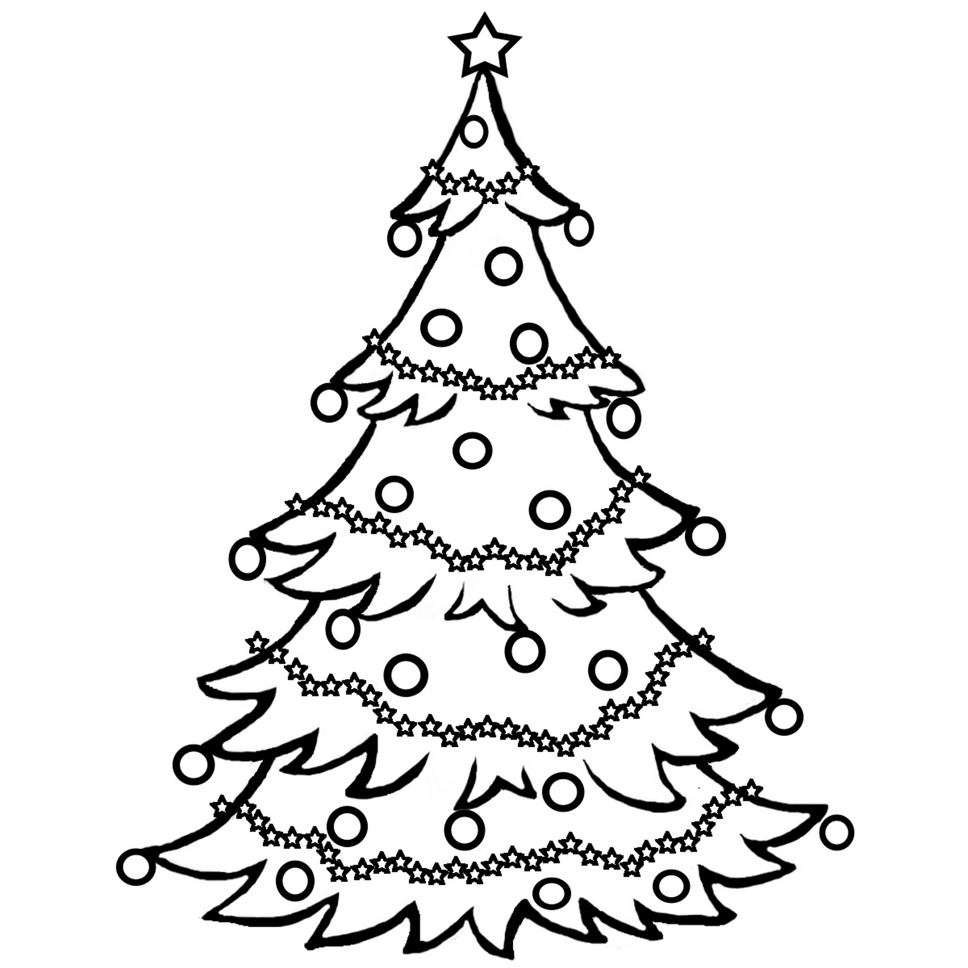 Christmas Tree Coloring Pages For Childrens Printable For Free